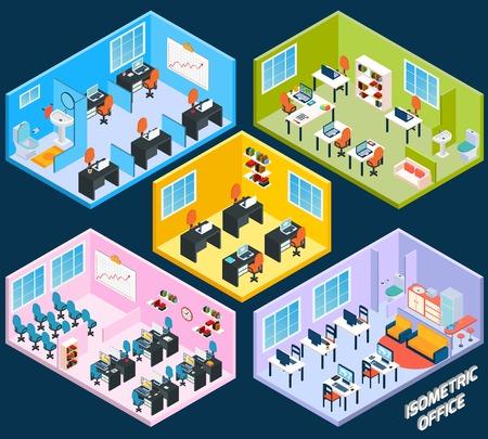 articulos de oficina: Interior de la oficina isométrica con el trabajo de conferencias y sala de reuniones elementos aislados ilustración vectorial Vectores