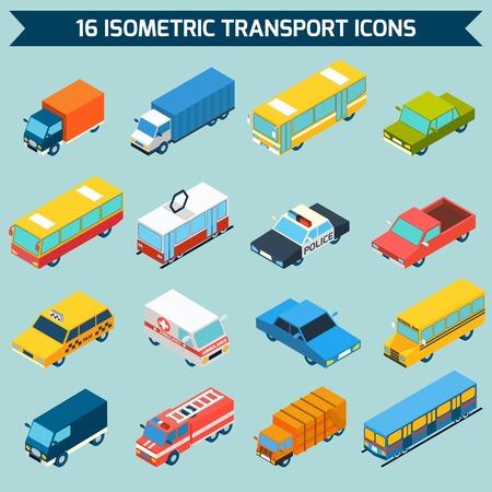 Iconos de transporte público de la ciudad isométrica 3D conjunto aislado ilustración vectorial Foto de archivo - 38994678
