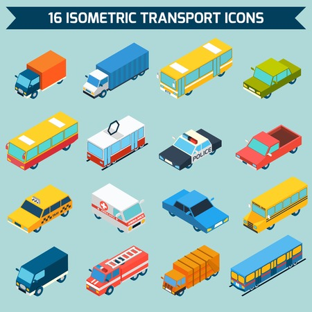 commercial vehicle: Isometric public city transport 3d icons set isolated vector illustration