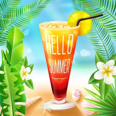 Zomer strand ontwerp met cocktail drinken glas en exotische palm takken op achtergrond vector illustratie