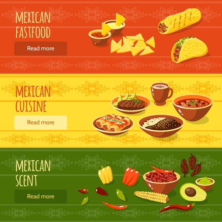 scent: Mexican food horizontal banner set with fastfood scent cuisine elements isolated vector illustration