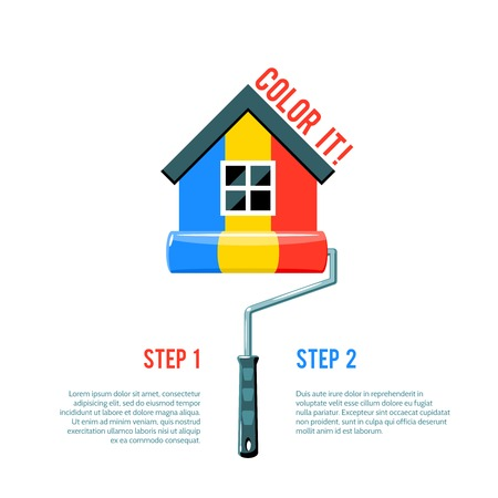 paint house: House icon painted in three colors with paint roller house improvement logo vector illustration