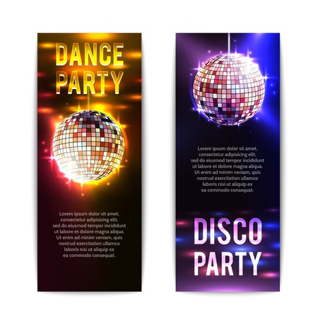 disco: Disco party banners vertical set with bright club balls isolated vector illustration