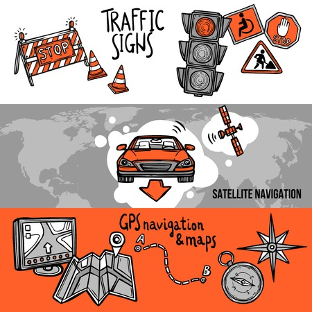 to navigation: Bandera dibujada Navegaci�n mano horizontal conjunto con elementos de las se�ales de tr�fico GPS y mapas aislado ilustraci�n vectorial