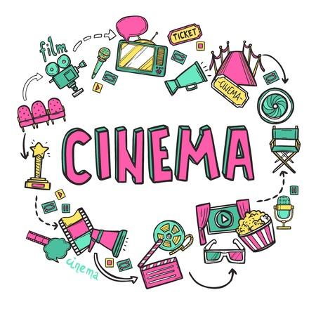 Cinema design concept met de hand getekende film kunst pictogrammen instellen vector illustratie Stock Illustratie