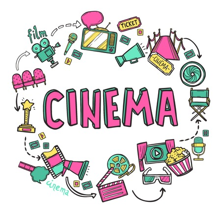 Cinema design concept with hand drawn movie art icons set vector illustration