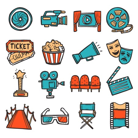 cinema screen: Cinema decorative icons colored set with video screen film camera movie ticket isolated vector illustration