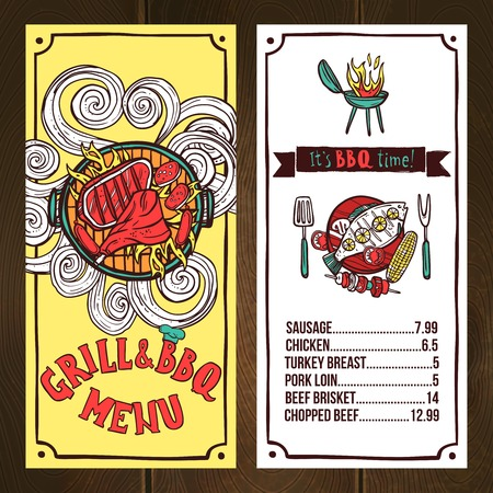 drink tools: Grill and bbq restaurant menu sketch with barbeque dishes vector illustration Illustration