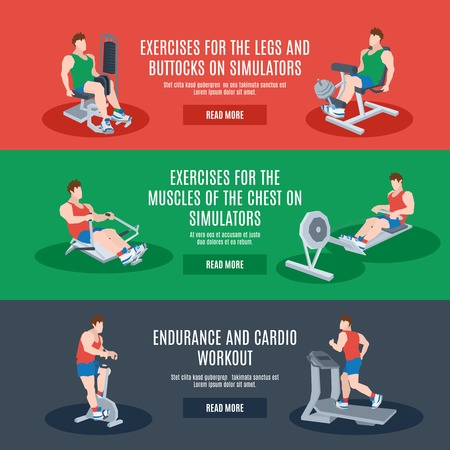 Exercise machines set with legs chest buttocks endurance and cardio workout elements isolated vector illustration Vector