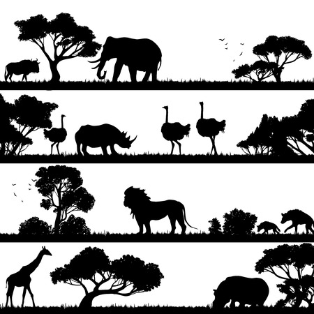 Paisaje africano con los árboles y los animales salvajes siluetas negras ilustración vectorial Vectores