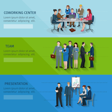 business desk: Office worker horizontal banner set with coworking center team presentation elements isolated vector illustration Illustration