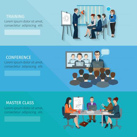 gestion: Bandera Conferencia conjunto con elementos planos master class entrenamiento aislado ilustración vectorial Vectores
