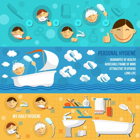 personal care: Personal hygiene banner horizontal set with beauty bathroom cosmetic items isolated vector illustration