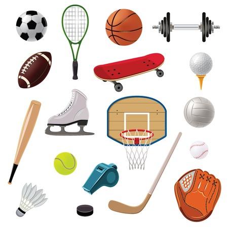 icono deportes: Equipamiento deportivo iconos decorativos establecen con las bolas de juego raquetas y accesorios aislado ilustraci�n vectorial