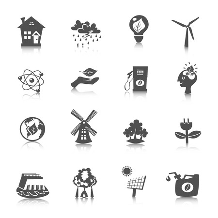 Eco energy black icons set with wind solar water electric technologies isolated vector illustration Vector