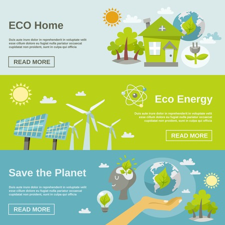 planeta verde: Banner horizontal de energía Eco conjunto con elementos planos caseras del planeta verde aislado ilustración vectorial