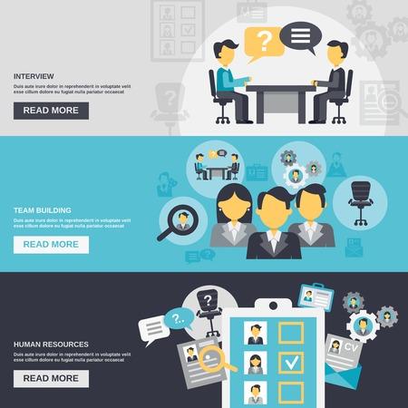 saludo de manos: Recursos humanos banner horizontal conjunto con elementos de formaci�n de equipos entrevista aislado ilustraci�n vectorial Vectores