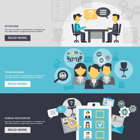 Human resources horizontal banner set with interview team building elements isolated vector illustration Vettoriali