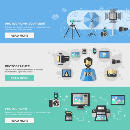 Photography horizontal banner set with photographer equipment flat elements isolated vector illustration Illustration