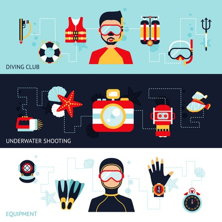 harpoon: Diving horizontal banner set with club equipment underwater shooting elements isolated vector illustration