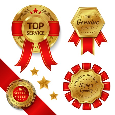 excellence: Top service awards premium quality ribbons and gold medals set isolated vector illustration