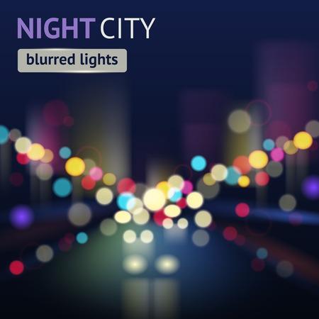 Night city with traffic lights and defocused buildings blur background vector illustration Ilustração
