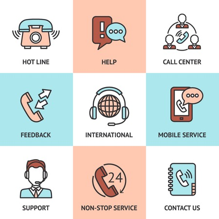 call center office: Call center design concept set with hot line help feedback icons isolated vector illustration