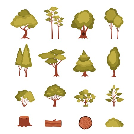 Forest elements set with trees bushes plants log and stump isolated vector illustration
