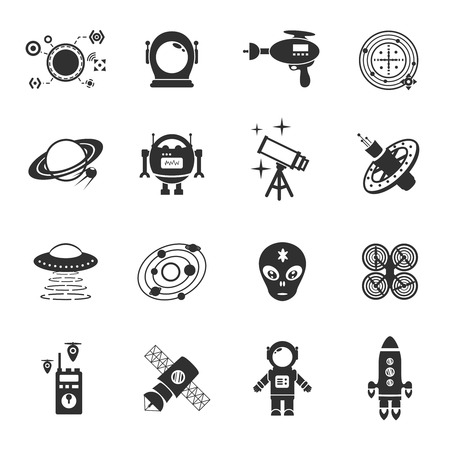 a helmet: Fiction icons black set with spaceman spaceship and flying saucer isolated vector illustration