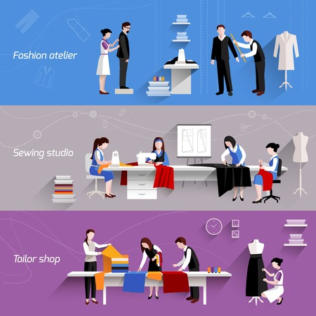 Sewing horizontal banners set with fashion atelier tailor shop elements isolated vector illustration Illustration