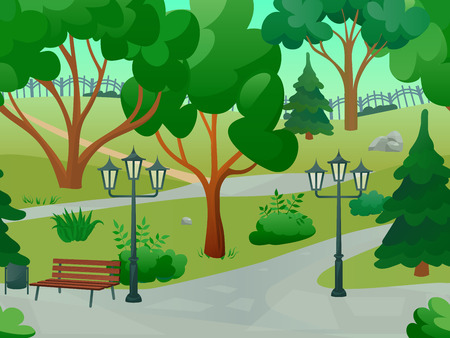 trees  sky: Park 2d game landscape with trees streetlights and bench flat vector illustration Illustration