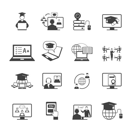 students in class: Online education video learning digital graduation icon black set isolated vector illustration Illustration