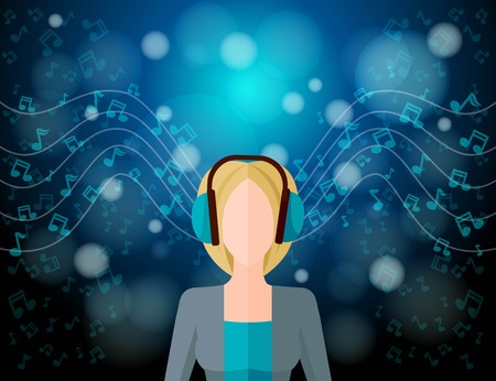 dj headphones: Music listening concept with young woman in headphones and musical notes on blur background vector illustration Illustration