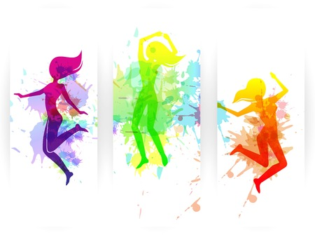 jumping people: Happy jumping people silhouettes colorful vertical paper banners set isolated vector illustration