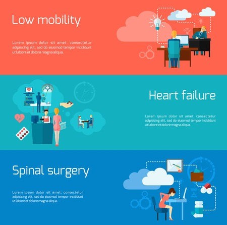 heart failure: Sedentary lifestyle horizontal banner set with flat inactive living elements isolated vector illustration