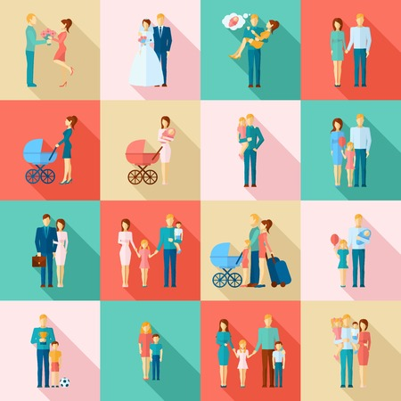 couples: Family flat icons set with married couples parents and children isolated vector illustration