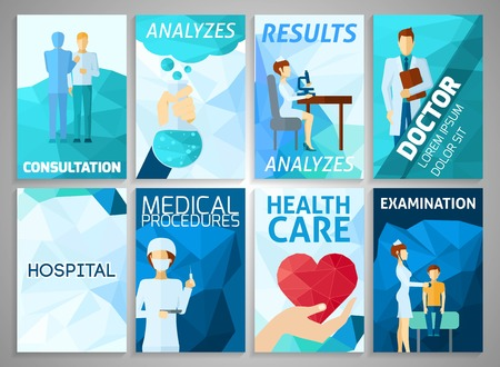 hospital staff: Medicine hospital and health care flyer set isolated vector illustration