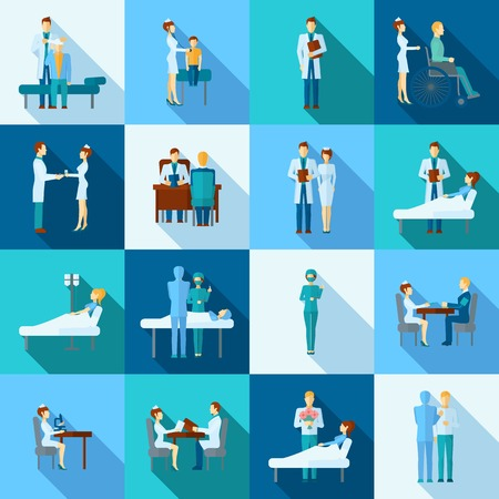 hospital care: Doctors occupation professional health care flat icons set isolated vector illustration