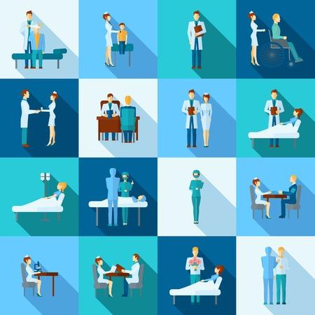 llano: Iconos planos médicos ocupación profesional de la salud establecen aislado ilustración vectorial Vectores