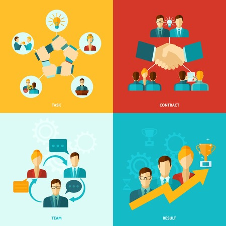 Teamwork design concept set with task contract team results flat icons isolated vector illustration
