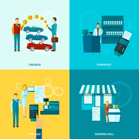 salesman: Salesman design concept set with car sales pharmacist purchase shopping stall flat icons isolated vector illustration