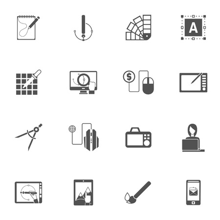 Graphic design studio black icons set with different color painting tools isolated vector illustration