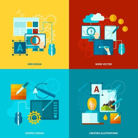Graphic design concept set met geïsoleerde web grafische creëren vlakke pictogrammen vector illustratie