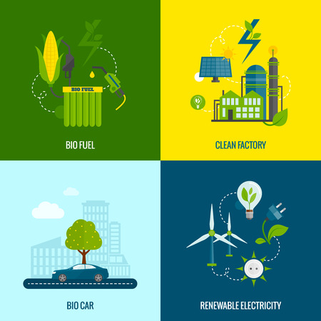 fuel cell: Eco bio car fuel and clean renewable electricity production 4 flat  icons composition abstract vector isolated illustration