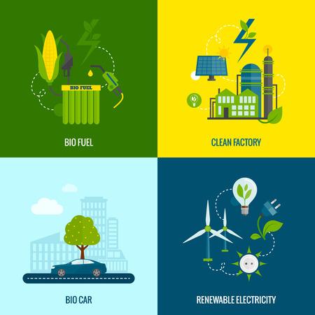 Geïsoleerd eco bio auto brandstof en schone, hernieuwbare elektriciteitsproductie 4 vlakke pictogrammen samenstelling abstracte illustratie