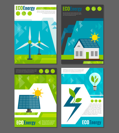 panel: Eco energy solar panel and windmills ecological  rechargeable electricity generation systems 4 icons poster abstract vector illustration