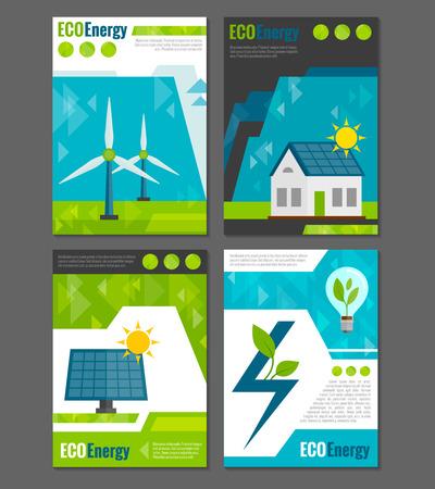 electricidad: Paneles solares y molinos de viento de energ�a Eco sistemas de generaci�n de energ�a el�ctrica recargable ecol�gica 4 iconos ilustraci�n del cartel del vector abstracto