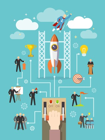 startup: Business startup and successful professional company leadership concept vector illustration Illustration