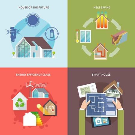 energy saving: Energy saving house design concept set flat icons isolated vector illustration