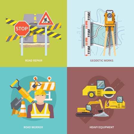 heavy: Road worker design concept set with heavy repair equipment flat icons isolated vector illustration